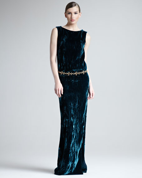Crushed Velvet Side-Slit Gown