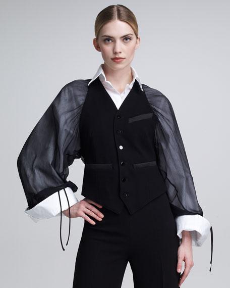 Chiffon Kimono-Sleeve Vest
