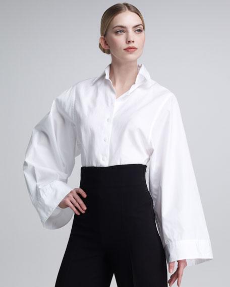 Kimono-Sleeve Poplin Blouse