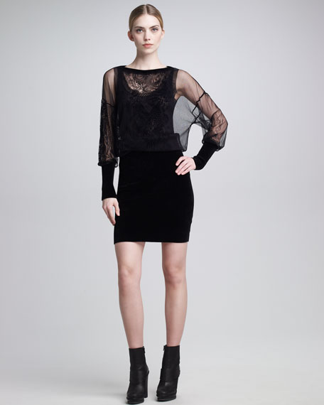 Sheer-Blouson Dress