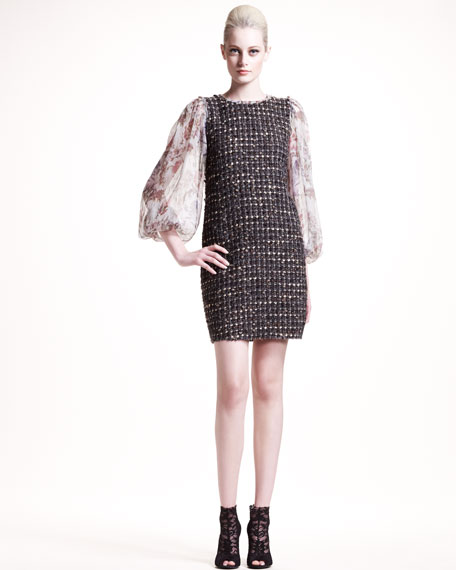 Chiffon-Sleeve Tweed Dress