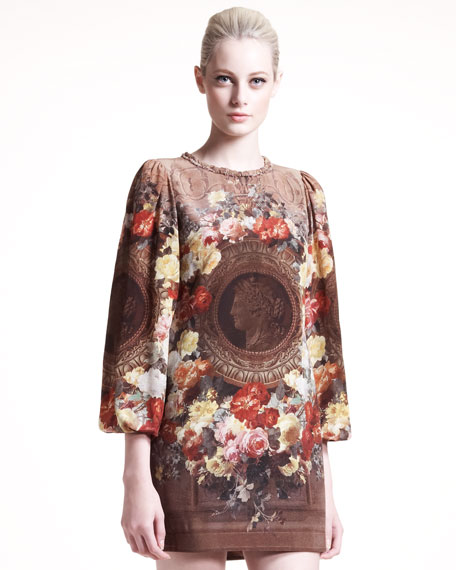 Neoclassical-Print Shift Dress