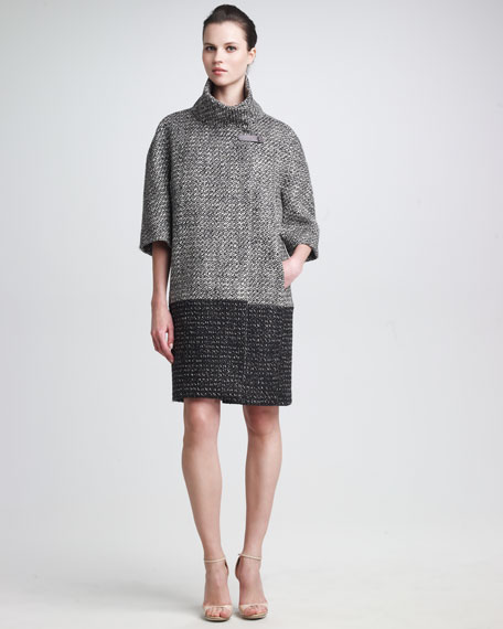Funnel-Neck Tweed Coat