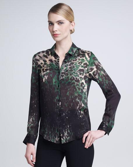 Leopard-Print Blouse, Green