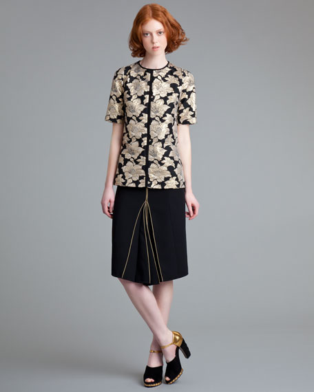 Piped Crepe Skirt
