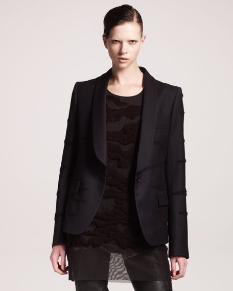 Tiger Embroidered Shawl-Collar Jacket