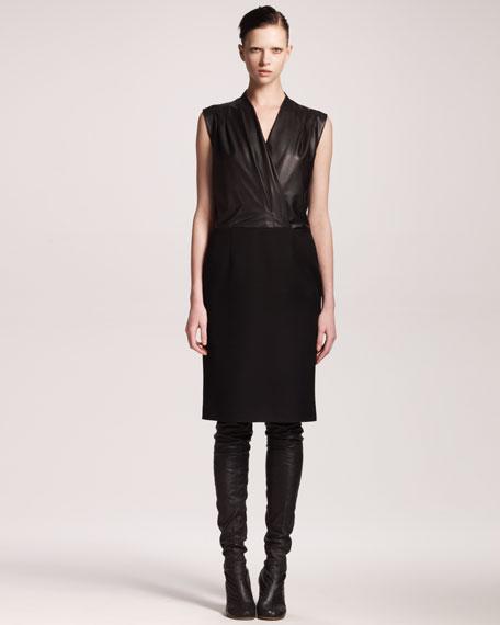 Faux-Wrap Combo Dress