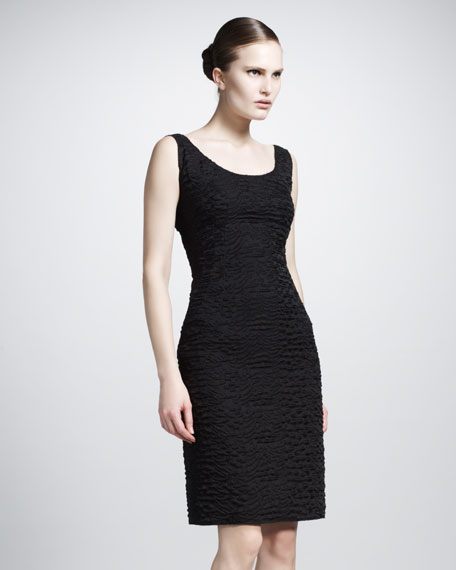 Scoop-Neck Brocade Dress