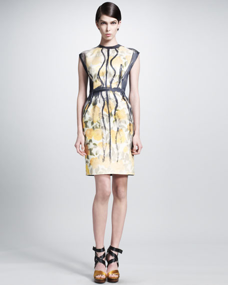 Trompe l'Oeil Painted-Pleat Dress