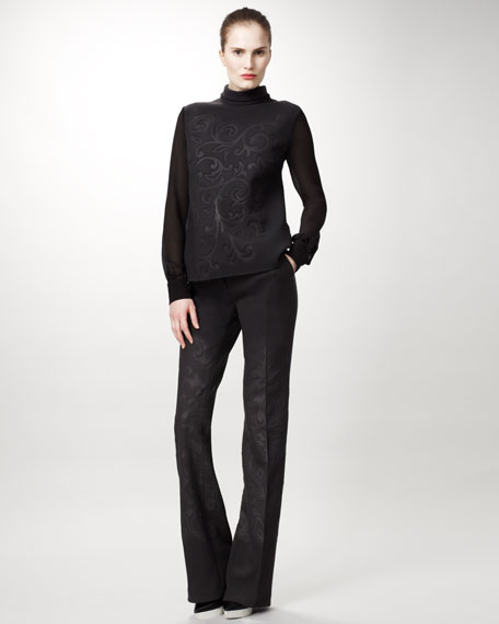 Damask Straight-Leg Pants, Bark