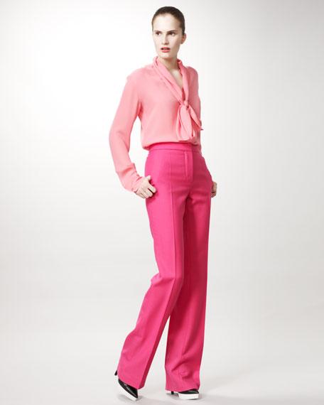 Straight-Leg Pants, Shocking Pink