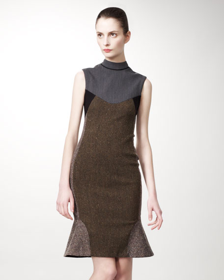 Mixed-Fabric Sheath Dress