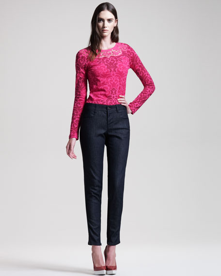 Jeans With Faux-Leather Tuxedo Stripe