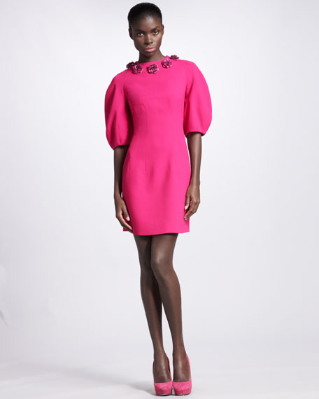 Floral-Neck Dress, Fuchsia