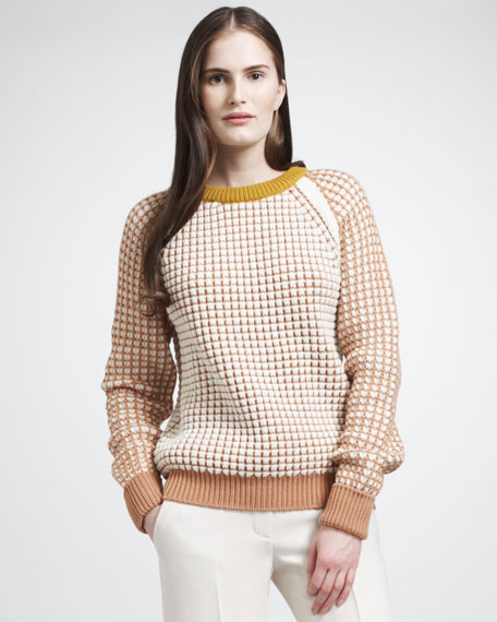 Honeycomb Knit Sweater With Contrast Trim