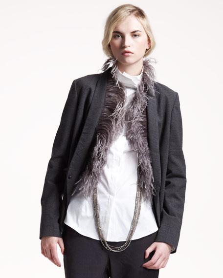 Feather-Trim Gauze Jacket