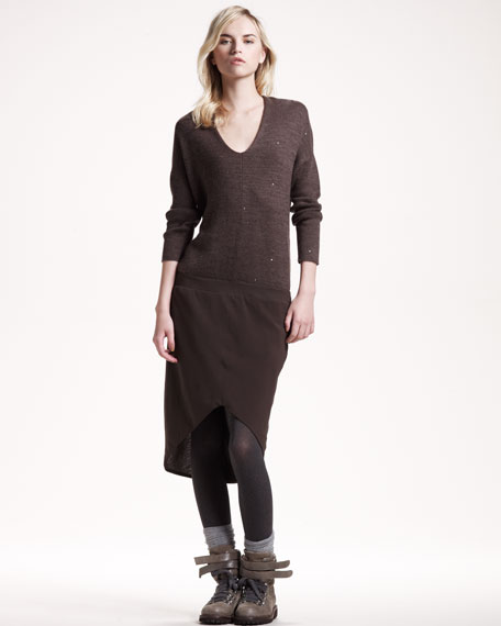 Paillette-Top Combo Dress, Chocolate