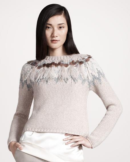Feather-Trim Intarsia Sweater
