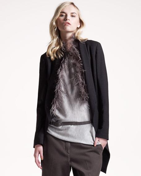 Feather-Trim Jacket