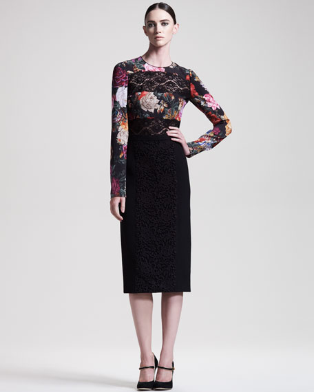 Macrame-Front Pencil Skirt