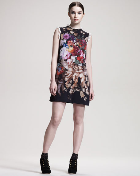 Sleeveless Cherub-Print Dress