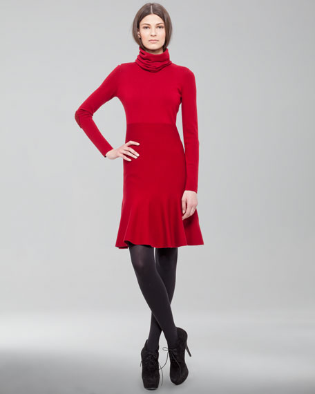 Beaded-Elbow Funnel-Neck Dress