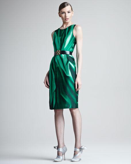 Printed Silk Mikado Dress