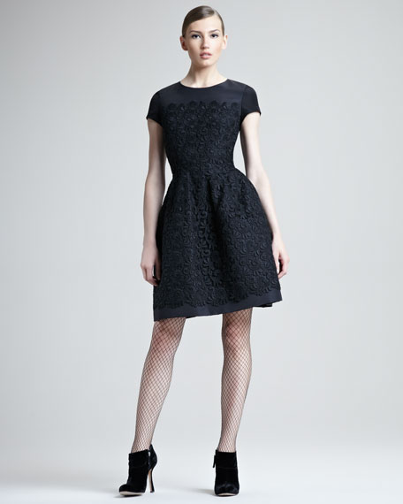 Silk Faille Dress With Guipure Lace Overlay
