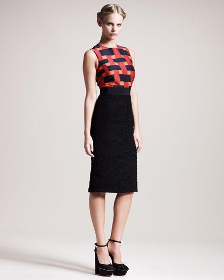 Geometric-Print Combo Dress