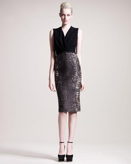 Croc-Print Combo Dress