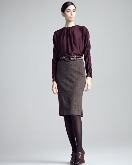 Evanna Herringbone Pencil Skirt