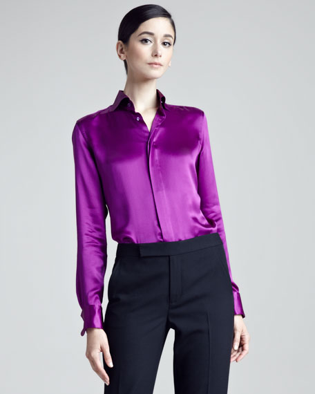 Aston Pleated Tuxedo Shirt, Cassis
