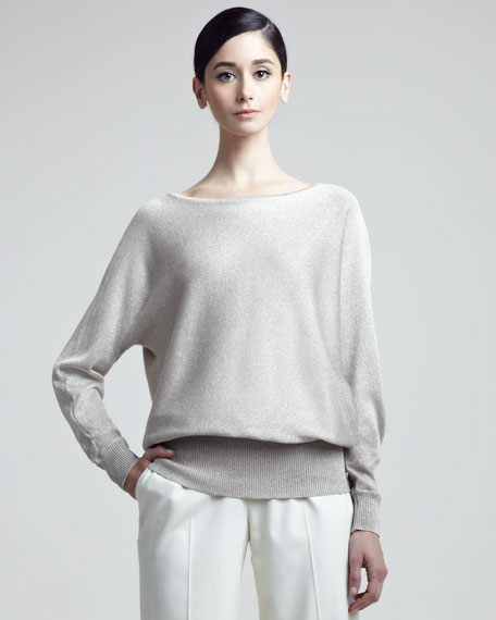 Metallic Blouson Sweater