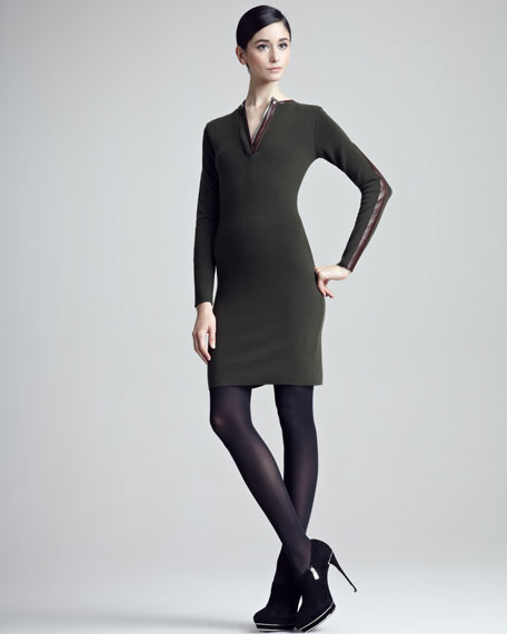 Lambskin-Trimmed Wool Sheath Dress