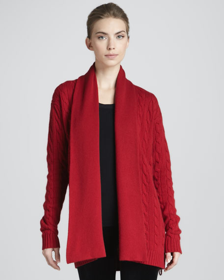 Cable-Knit Cashmere Cardigan, Ruby