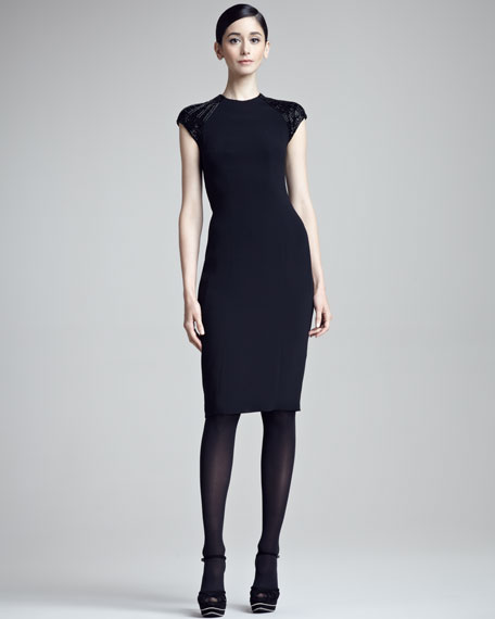 Sylvia Beaded Cap-Sleeve Sheath Dress