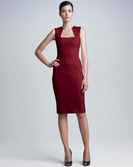 Square-Neck Bonded Jersey Dress