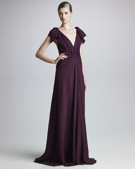 Draped Cloque Gown