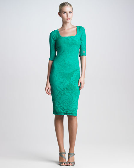 Lace-Mesh Knee-Length Dress