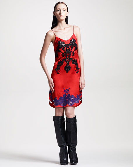 Lace-Applique Satin Slip Dress