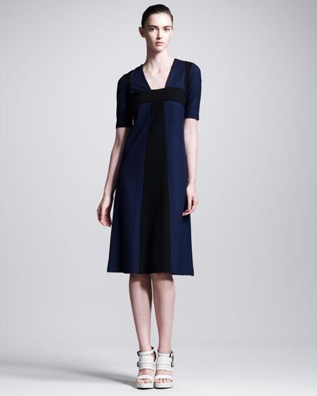 Colorblock Half-Sleeve Dress