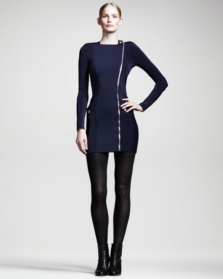 Mesh-Panel Jersey Zip Dress