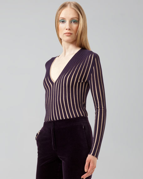 Ribbed V-Neck Pullover