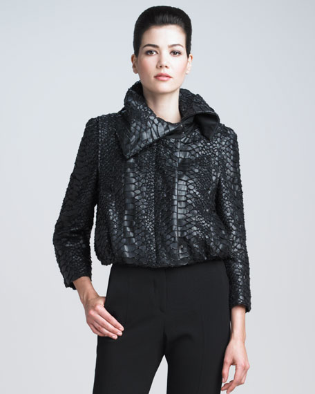 Python-Embossed Moto Jacket