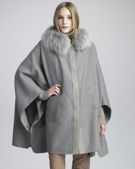 Fox-Trimmed Cashmere Cape