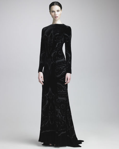 Devore Long-Sleeve Gown