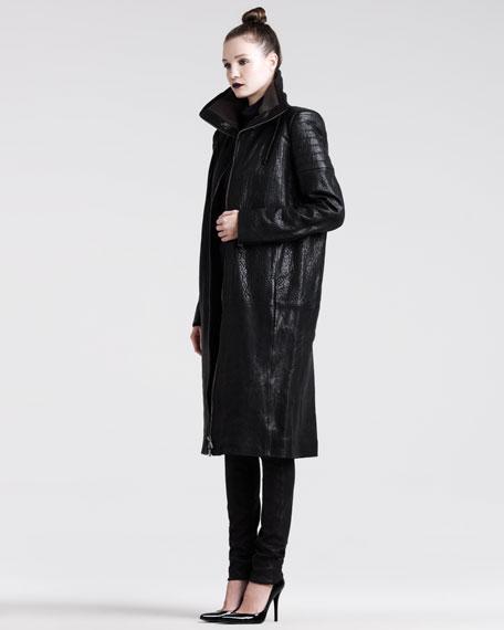 Long Leather Zip Coat