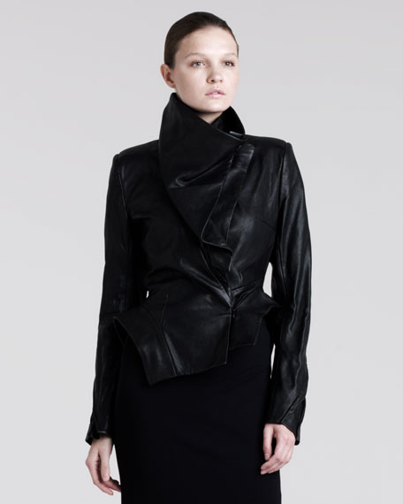 Asymmetric Leather Peplum Jacket