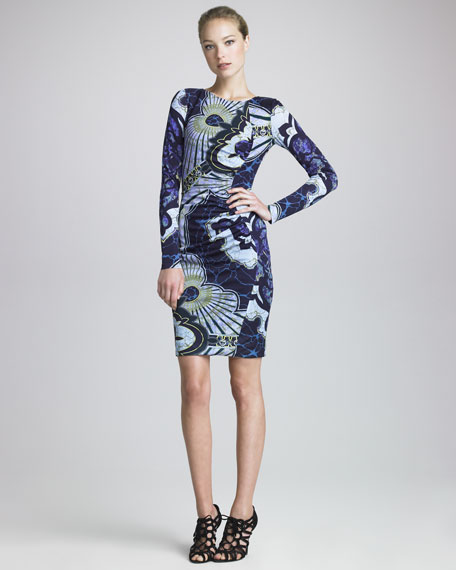 Contour-Ruched Long-Sleeve Dress