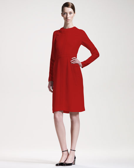 Stitched Cady Long-Sleeve Dress